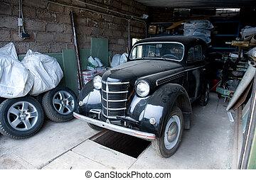 Retro Soviet car in garage