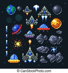 Retro space arcade game pixel elements. Invaders, spaceships, planets and ufo vector set