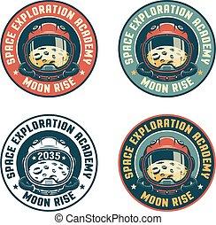 Retro space badge with astronaut helmet and moon