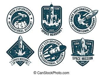 Retro space badges set. Astronaut emblems with launch rocket...
