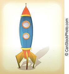 Retro Spaceship Landing - Illustration of a vintage design...