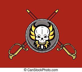 retro, spada, scudo, cranio, croce