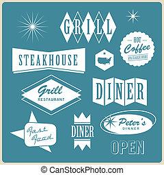 retro, spandoek, restaurant
