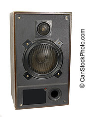 Retro speaker on white ground