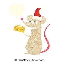 retro speech bubble cartoon christmas mouse - freehand drawn...