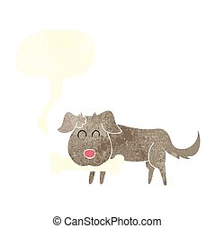 retro speech bubble cartoon dog with bone