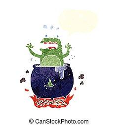 retro speech bubble cartoon funny halloween toad - freehand...