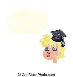 retro speech bubble cartoon graduate woman