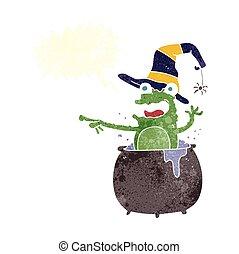 retro speech bubble cartoon halloween toad - freehand drawn...