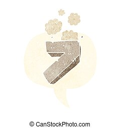 retro speech bubble cartoon stone number seven