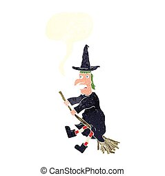 retro speech bubble cartoon witch flying on broom