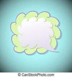 Retro speech bubble on blue background