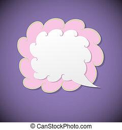 Retro speech bubble on violet background