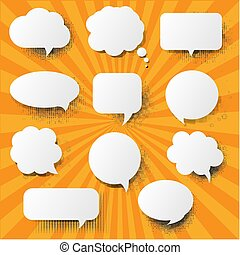 Retro Speech Bubble With Sunburst Background
