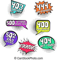 Retro speech bubbles with inernet page errors