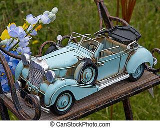 retro speelgoed, model, vintage auto