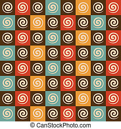 Retro spiral and square pattern