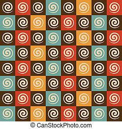 Retro spiral and square pattern