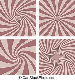 Retro spiral background set