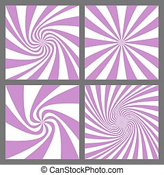 Retro spiral ray and starburst background set
