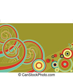 Retro Spirals - Funky retro background of multi-colored...