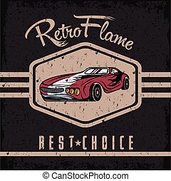 retro sport car old vintage grunge poster