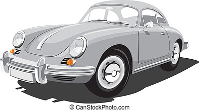 Retro sport car - Vector isolated sport car on white...