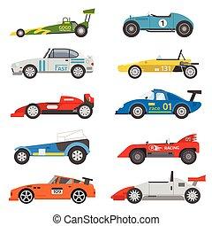 Retro sport car vector set.