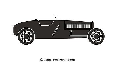 Retro sport racing car, vintage collection