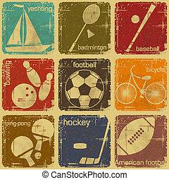 retro, sportende, etiketten