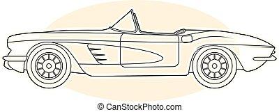 Retro sports car - vintage convertible, cabrio side view
