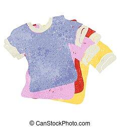 retro, spotprent, overhemden, t