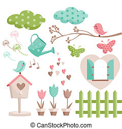 Retro spring elements illustration