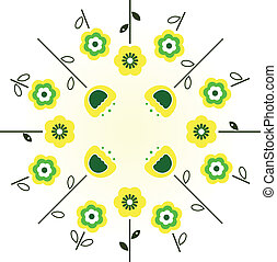 Retro spring flowers in circle - yellow and green