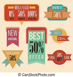 retro, sprzedaż, handlowy, znaki