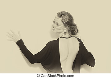 retro, stående, av, kvinna