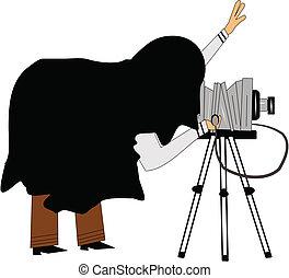 retro, stående, fotograf