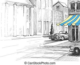 retro, stad, schets, stedelijke , architectuur, straat, en, auto's