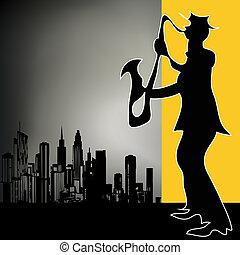retro, stadt, saxophon