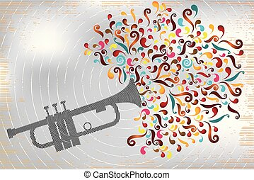 Retro stamp illustration with colorful music explosion