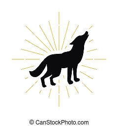 Retro standing howling wolf silhouette logo