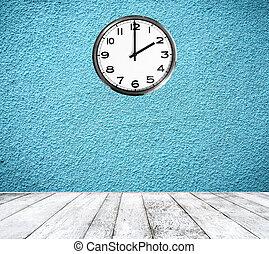 retro, stanza, con, orologio parete