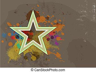 retro star with ink splash on grunge background