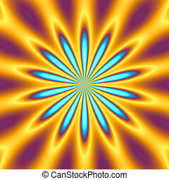 retro starburst - A bright orange and blue star burst...