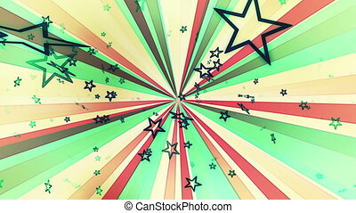 Retro stars in pale hues looping animated CG background