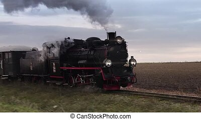 Retro steam locomotive loop - Old passangers train running...