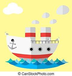Retro steam ship flat vector poster.