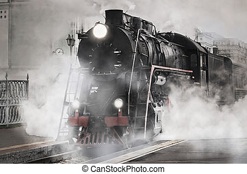 Retro steam train. - Retro steam train stands on the railway...