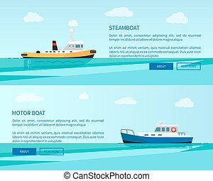 Retro Steamboat and Motor Boat out in Sea