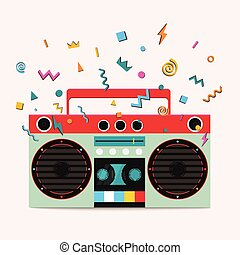 Retro stereo cassette player. Music center publishes sound...
